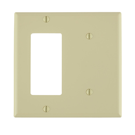 2-Gang 1-Blank 1-Decora/GFCI Device Combination Wallplate, Standard Size, Thermoplastic Nylon, Strap Mount, - Ivory