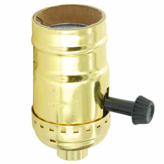 Medium Base Complete, Aluminum Shell Incandescent Lampholder, Removeable Turn Knob, 2-Circuit, 1/8 IPS Tapped Bushing, For controling two sockets - Brass