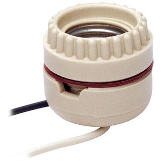 Medium Base, Two-Piece, Keyless, Incandescent, Unglazed Porcelain Lampholder, Ring-Type, Single Circuit, Back Wired, Slot Lock Prevents Rotation - White