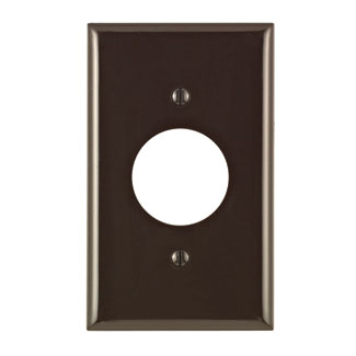 Leviton 80704 1-Gang Single 1.406 Inch Hole Device Receptacle Standard Size Thermoplastic Nylon Brown Wallplate