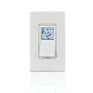 Vizia+ 24 hour Timer 120VAC, 60HZ, 1800W Incandescent, 15A Resistive/Inductive, 1HP, for single pole, 3-way or more locations, with astronomic clock, backlit LCD display, timer settings at a glance, green LED locator, neutral required. White assembled on