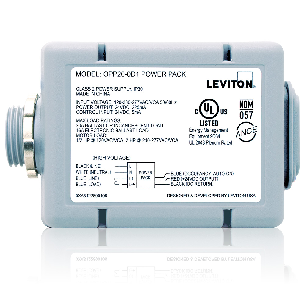 Leviton OPP20-D1 120/208/220/230/240/277 VAC 20 Amp Gray Standard Occupancy Sensor Power Pack