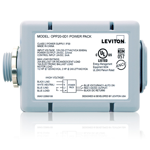 Leviton OPP20-D1 Power Pack For Occupancy Sensor, 120/220/277V, 20 Amp Fluorescent/ Incandescent (1HP @ 120VAC) (2HP @ 240VAC) Replaces OSP20-D0