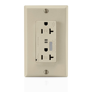 Decora Plus Surge Protective Duplex Receptacle Outlet, Commercial Specification Grade, Tamper-Resistant, 20 Amp, 125 Volt, Back or Side Wire, NEMA 5-20R, 2-Pole, 3-Wire, Self-Grounding - Ivory
