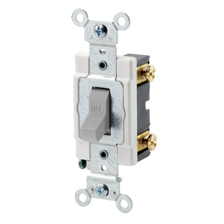 15 Amp, 120/277 Volt, Toggle Single-Pole AC Quiet Switch, Commercial Spec Grade, Grounding, Back & Side Wired, - Gray