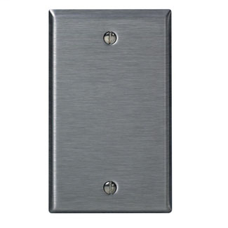 Leviton 84014 2.75 x 0.187 x 4.5 Inch 1-Gang Smooth Brushed 430 Stainless Steel Box Mount Standard Blank Wallplate