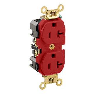 Leviton 5362-R 15 Amp 125 Volt NEMA 5-15R 2-Pole 3 Wire Extra Heavy Duty Specification Grade Red Receptacle