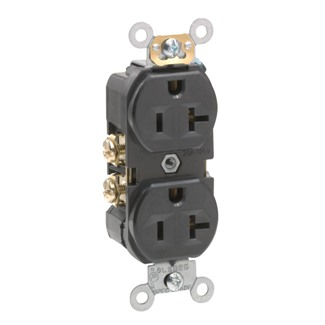 Duplex Receptacle Outlet, Commercial Specification Grade, Indented Face, 20 Amp, 125 Volt, Back or Side Wire, NEMA 5-20R, 2-Pole, 3-Wire, Self-Grounding - Black