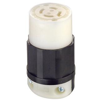 20 Amp, 120/208 Volt 3-Phase Y, NEMA L18-20R, 4P, 4W, Locking Connector, Industrial Grade, Non-Grounding - BLACK-WHITE