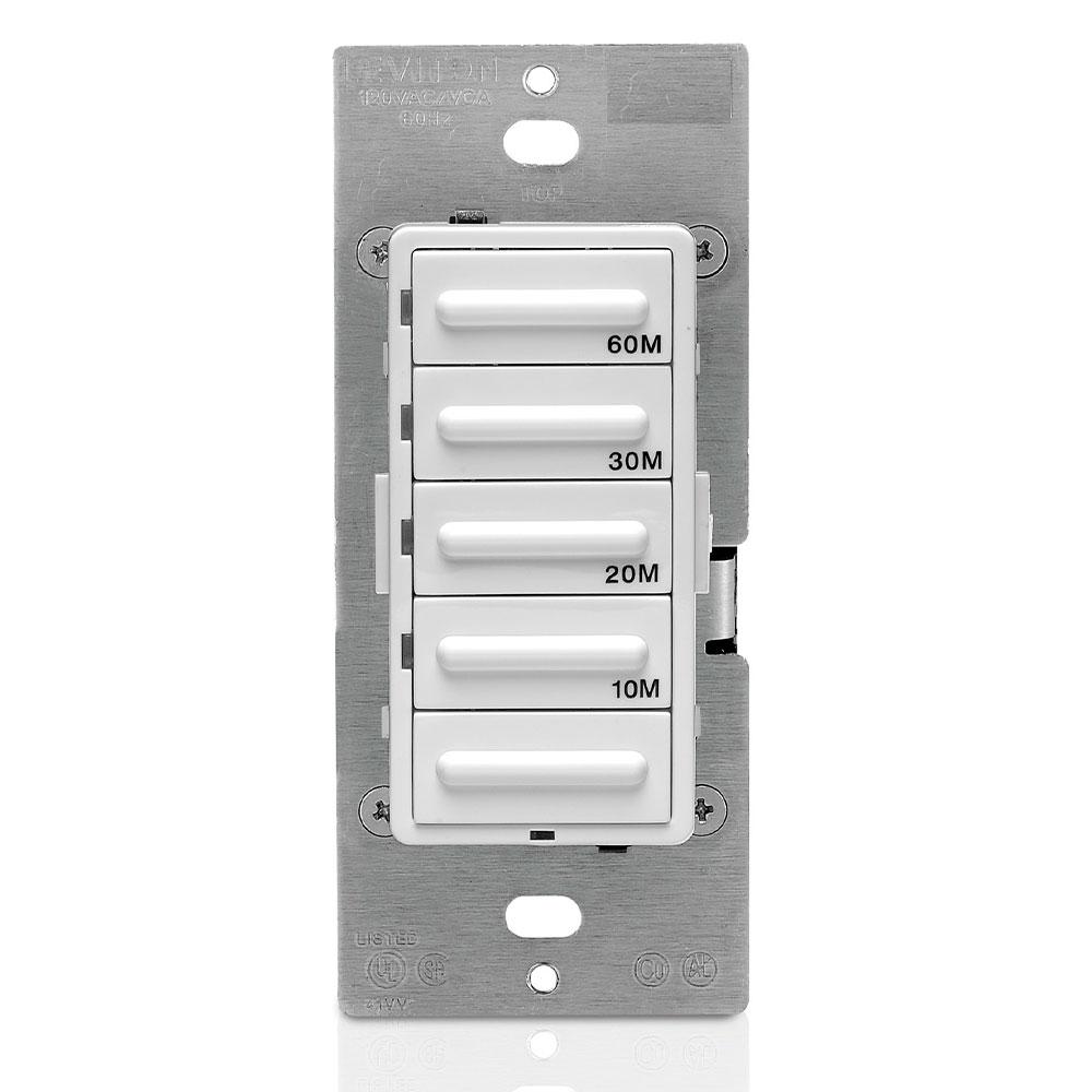 Leviton LTB60-1LZ 120 VAC 20 Amp 1800 W 1-Pole 3-Way White/Ivory/Light Almond 5-Button Preset Countdown Electronic Timer Switch