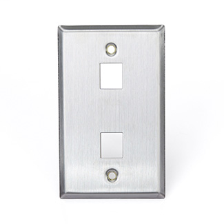 Stainless Steel QuickPort Wallplate, Single Gang, 2-Port