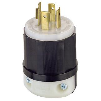 Leviton 2431 480 Volt 3-Phase 20 Amp 3-Pole 4-Wire NEMA L16-20P 5 Hp Black/White Nylon Grounding Locking Plug