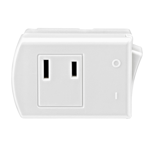 13 Amp, 125 Volt, 2-Pole, 2-Wire, Non-Grounding Plug-In Switch Tap - White