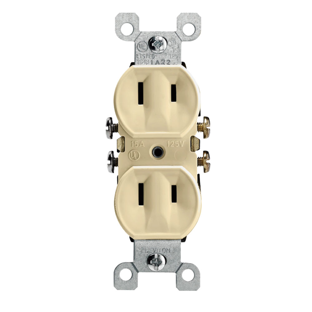Leviton 223-I 125 Volt 15 Amp 2-Pole 2-Wire NEMA 1-15R Ivory Thermoplastic Non-Grounding Straight Blade Duplex Receptacle