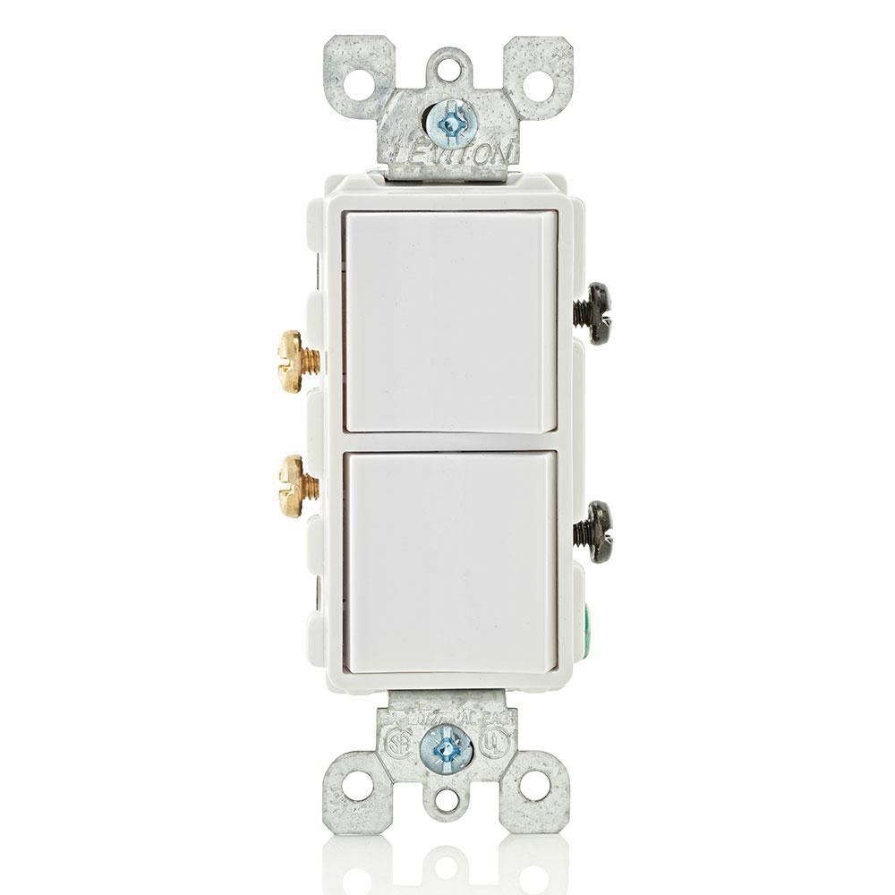 Leviton 5634-W 120/277 Volt 15 Amp 1-Pole 2 Hp White Thermoplastic Grounding Decorator AC Combination Switch