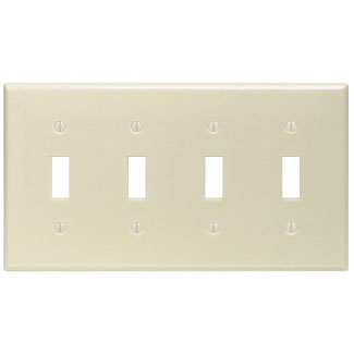 Leviton 86012 8.19 x 0.22 x 4.5 Inch 4-Gang Smooth Ivory Thermoset Device Mount Standard Toggle Switch Wallplate