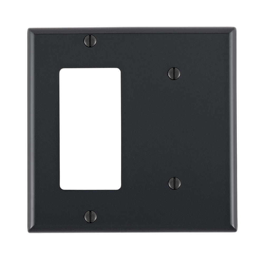 Leviton 80708-E 2-Gang 1-Blank 1-Decora/GFCI Device Standard Size Strap Mount Black Combination Wallplate