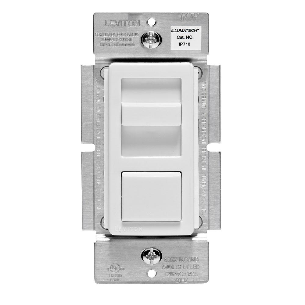 Leviton IP710-LFZ 120/277 VAC 1200 VA 1-Pole 3-Way White/Ivory/Light Almond Electro Mechanical Fluorescent Slide Dimmer