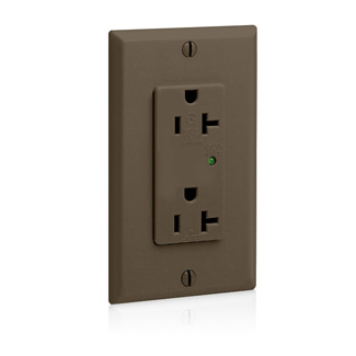 Decora Plus Surge Protective Duplex Receptacle Outlet, Commercial Specification Grade, 20 Amp, 125 Volt, Back or Side Wire, NEMA 5-20R, 2-Pole, 3-Wire, Self-Grounding - Brown