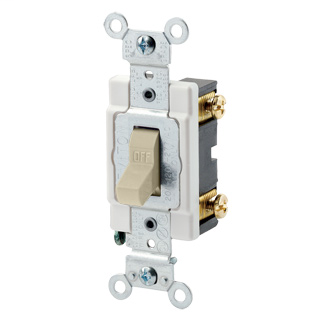 20 Amp, 120/277 Volt, Toggle Single-Pole AC Quiet Switch, Commercial Spec Grade, Grounding, Back & Side Wired, - Ivory
