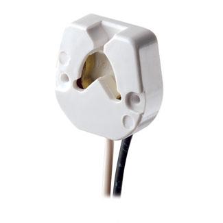 Medium Base, Bi-Pin, Standard Fluorescent Lampholder, Butt-On, Screw Mount, Turn-Type, , 9-Inch 18-AWM TEW Wire Leads - Black