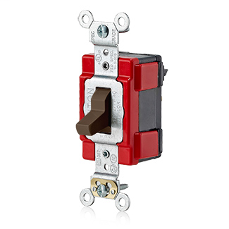 20 Amp, 120/277 Volt, Single-Pole AC Toggle Switch, Extra Heavy Duty Specification Grade, Self Grounding, Lev-Lok Modular – BROWN