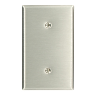 1-Gang No Device Blank Wallplate, Standard Size, 302 Stainless Steel, Strap Mount, - Stainless Steel