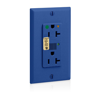 Decora Plus Surge Protective Isolated Ground Duplex Receptacle Outlet, Heavy-Duty Hospital Grade, 20 Amp, 125 Volt, Back or Side Wire, NEMA 5-20R, 2-Pole, 3-Wire, Self-Grounding - Blue