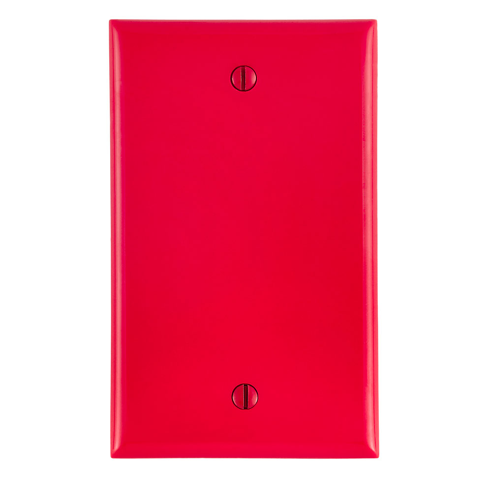 Leviton 80714-R 1-Gang No Device Blank Standard Size Thermoplastic Nylon Box Mount Red Wallplate