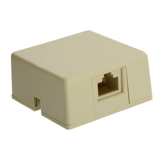 Surface Mount Jack with Shorting Bar, 8P8C, Screw Terminal, Ivory