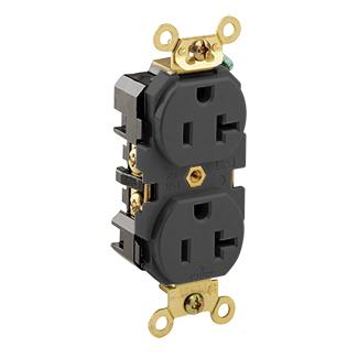 Leviton 5362-E 125 Volt 20 Amp 2-Pole 3-Wire NEMA 5-20R Black Thermoplastic Nylon Straight Blade Duplex Receptacle