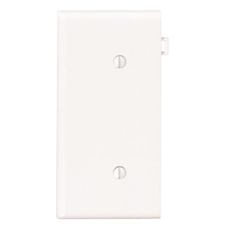 1-Gang No Device Blank Wallplate, Sectional, Thermoplastic Nylon, Strap Mount, End Panel - White