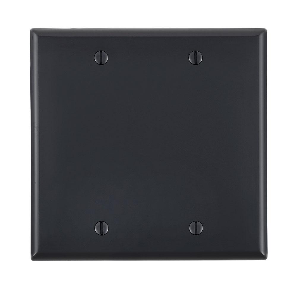 Leviton 80725-E 2-Gang 2-Blanks Box Mounted Black Standard Size Nylon Wallplate