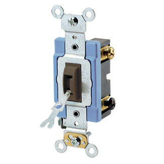 15 Amp, 120/277 Volt, Toggle Locking 3-Way AC Quiet Switch, Industrial Grade, Self Grounding, Back & Side Wired, - Brown
