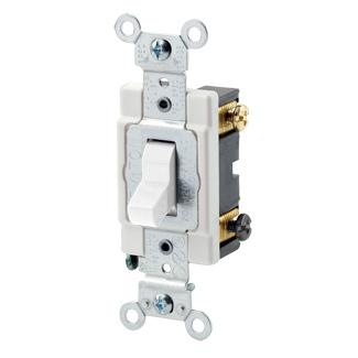 Leviton CSB3-15W 120/277 VAC 15 Amp 2 Hp 3-Way White Thermoplastic Grounding Toggle Quiet Switch