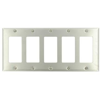 5-Gang Decora/GFCI Device Decora Wallplate/Faceplate, Standard Size, Brass, Device Mount - STAINLESS STEEL