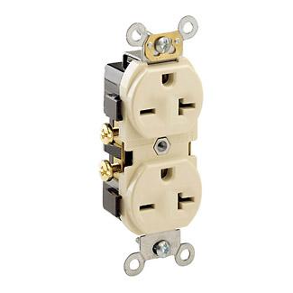 Leviton 5822-I 20 Amp 250 Volt NEMA 6-20R 2-Pole 3 Wire Narrow Body Straight Blade Commercial Grade Ivory Duplex Receptacle