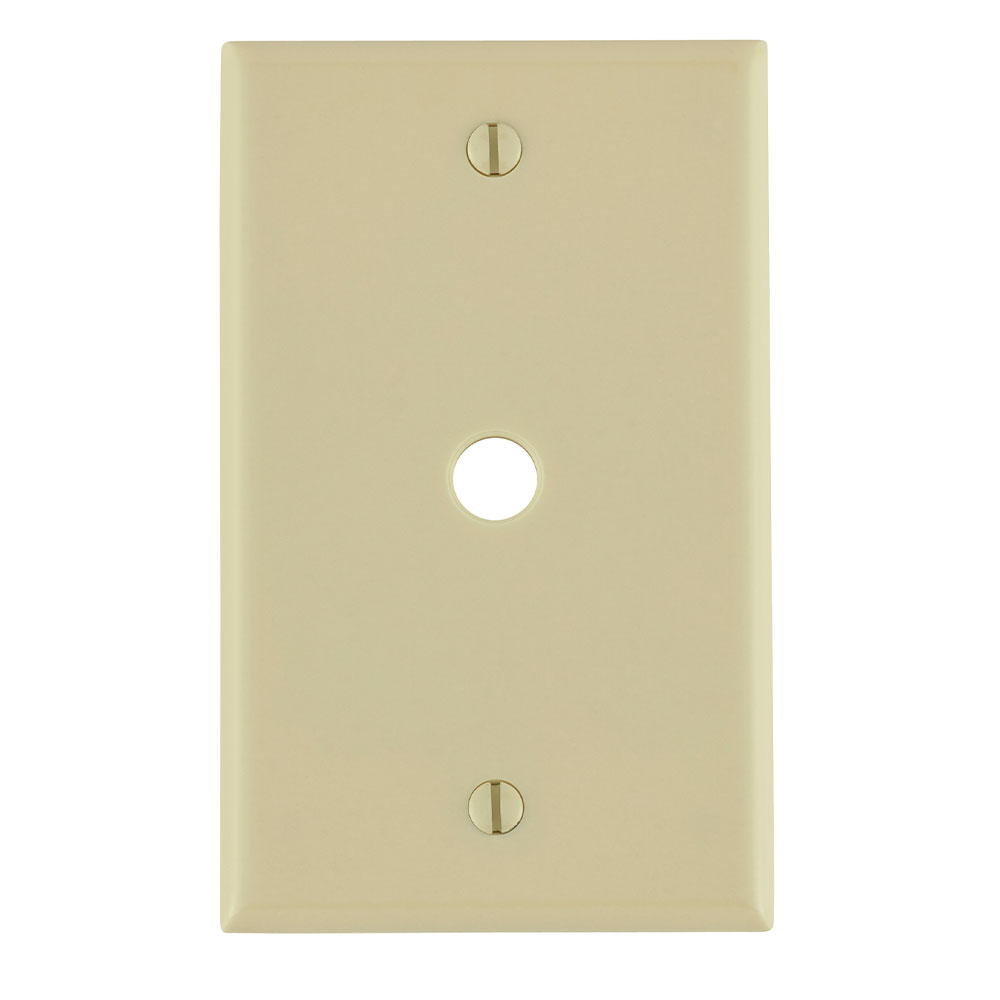Leviton 86013 1-Gang .406 Inch Hole Device Telephone/Cable Standard Size Thermoset Box Mount Ivory Wallplate