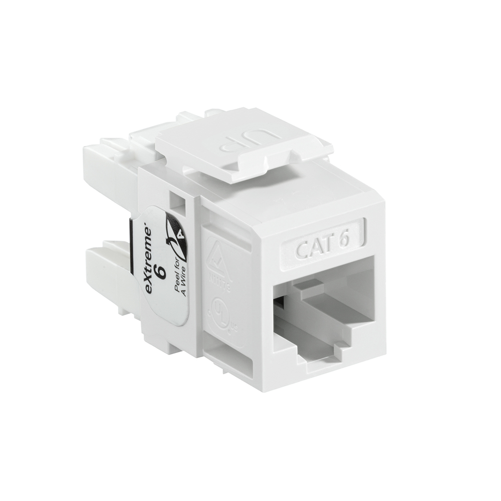 Leviton 61110-RW6 Category 6 White Plastic Snap-In 8-Position 8-Conductor UTP Jack Modular Connector