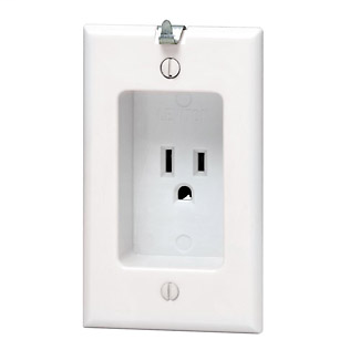Leviton 688-W 125 Volt 15 Amp 2-Pole 3-Wire NEMA 5-15R 1-Gang White Thermoplastic Grounding Recessed Clock Hanger Receptacle