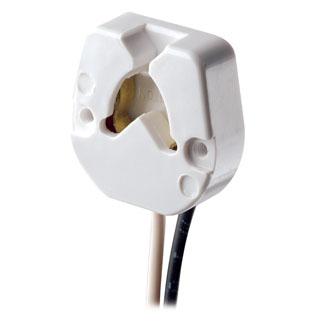 Medium Base, Bi-Pin, Standard Fluorescent Lampholder, Butt-On, Screw Mount, Turn-Type, , 9-Inch 18-AWM TEW Wire Leads - White
