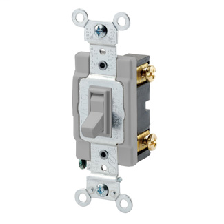 20 Amp, 120/277 Volt, Toggle Framed Single-Pole AC Quiet Switch, Commercial Spec Grade, Grounding, Side Wired, - Gray