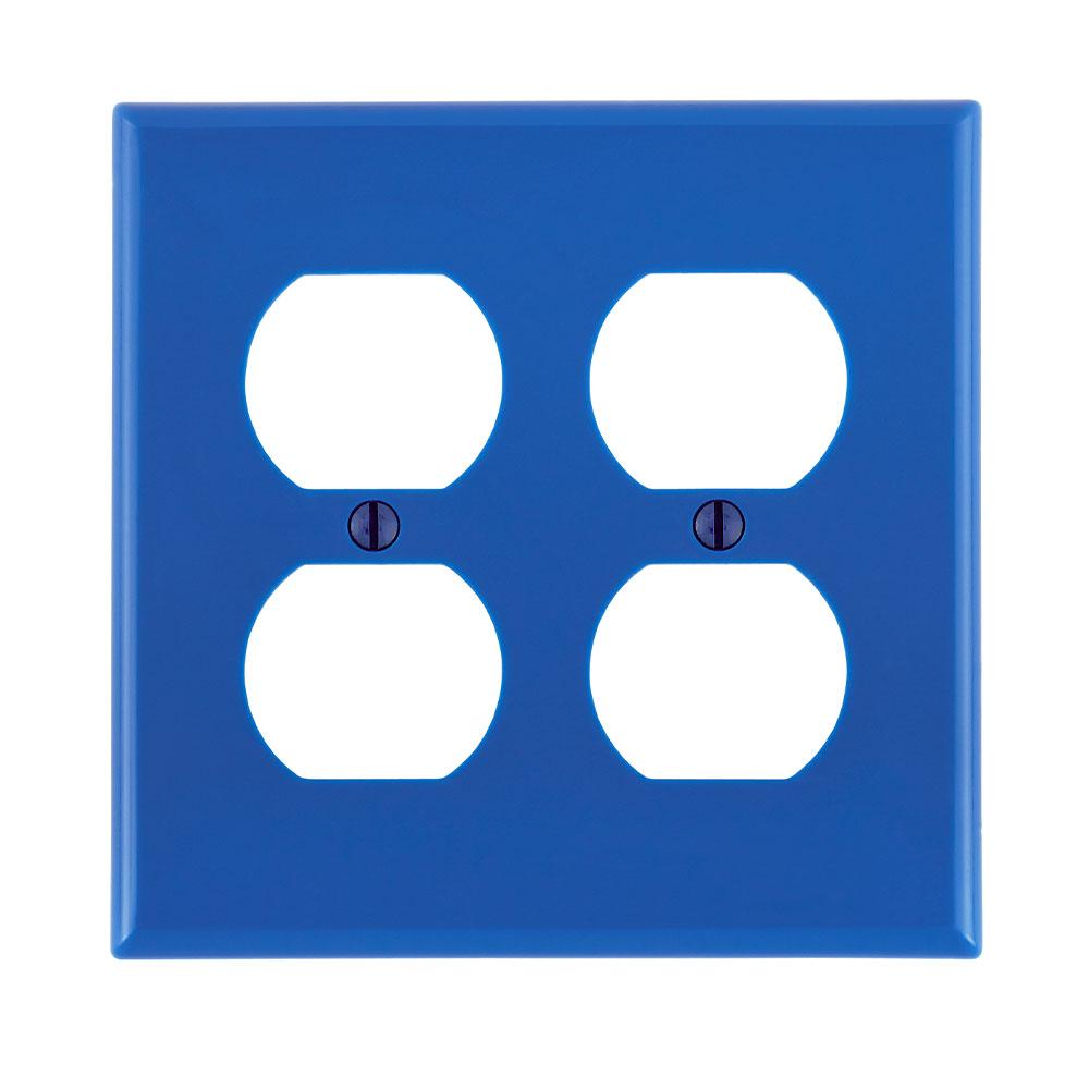 Leviton 80716-BU 2-Gang Duplex Device Mount Receptacle Standard Size Thermoplastic Nylon Blue Wallplate