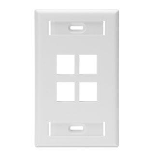 LEVITON 42080-4WS WHITE 4-PORT 1-GANG WALLPLATE W/ LABELS