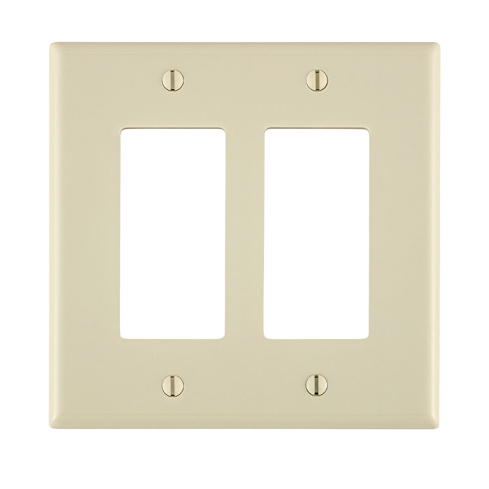 Leviton 80609-T 4.94 x 0.255 x 4.875 Inch 2-Gang Smooth Light Almond Thermoset Device Mount Midway Decorator/GFCI Wallplate