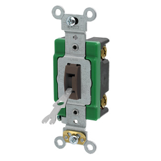 Leviton 3031-2L 120/277 VAC 30 Amp 1-Pole 2 Hp Brown Thermoplastic Self Grounding Locking Toggle Quiet Switch