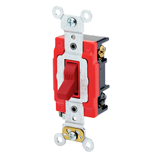 20 Amp, 120/277 Volt, Toggle 3-Way AC Quiet Switch, Extra Heavy Duty Spec Grade, Self Grounding, Back & Side Wired - RED