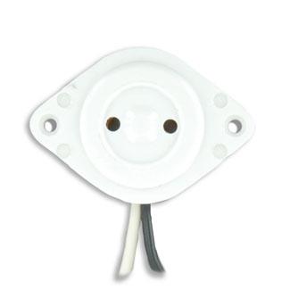 Medium Base, Bi-Pin, Standard Fluorescent Lampholder, Butt-On, Screw Mount, Stationary, , 9-Inch 18-AWM TEW Wire Leads - White