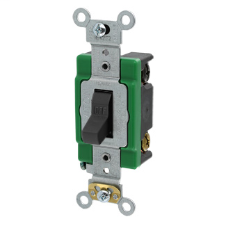 30 Amp, 120/277 Volt, Toggle Double-Pole AC Quiet Switch, Industrial Grade, Self Grounding, Back & Side Wired, - BLACK