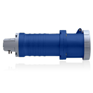 Leviton 460C9W 250 Volt 3-Phase 60 Amp 3-Pole 4-Wire Blue Resin 357 IEC Pin and Sleeve Connector